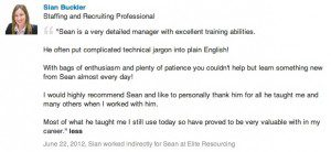 Former Staff member Recommendation for Sean Durrant Recruitment Manager