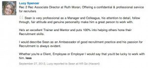 Work Colleauge Recommendation for Sean Durrant Manager